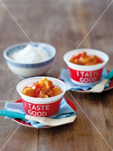 Sweet and sour pork with cashew nuts as a takeaway