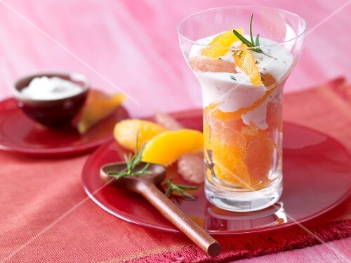 Grapefruit and orange salad with rosemary quark and maple syrup