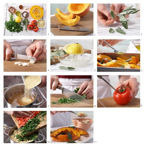 How to prepare stewed pumpkin with sage and tomato couscous