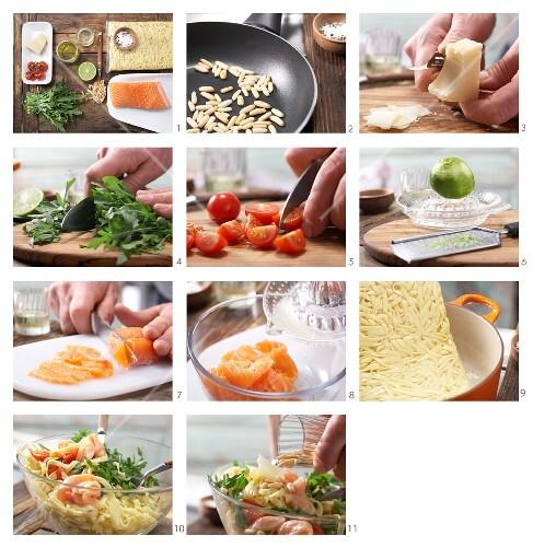 How to prepare tagliatelle with marinated salmon, pine nuts and Pecorino