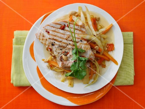 Cabbage and coconut curry with grilled turkey escalopes