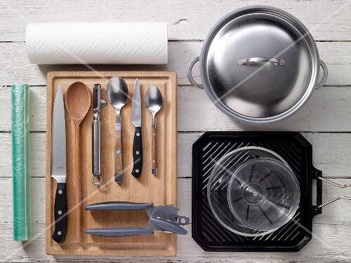 Kitchen utensils for preparing vegetables, turkey and chicken