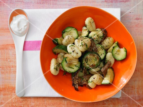 Pan-fried courgette with gnocchi and porcini mushrooms