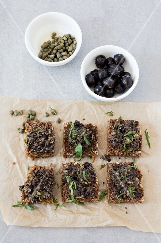 Slices of wholemeal bread with home-made tapenade