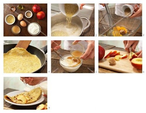 How to prepare a millet omelette with nectarines