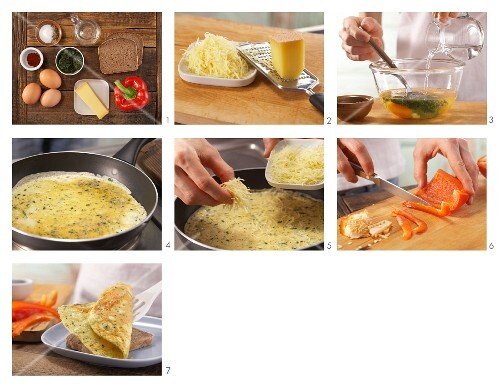 How to prepare a cheese omelette with red pepper on wholemeal bread