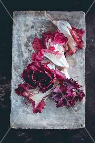 Radicchio on a stone slab (seen from above)