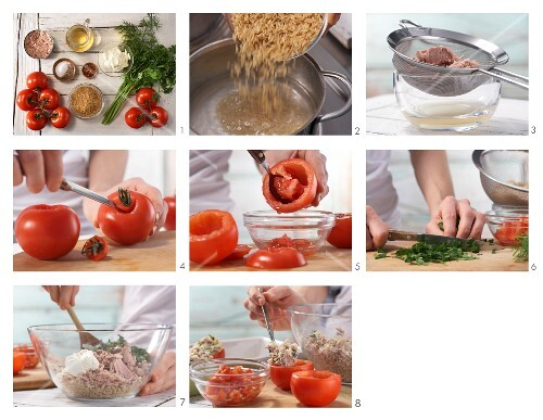 How to prepare stewed tomatoes filled with tuna, rice and herbs