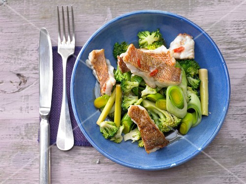 Chilli-infused rose fish with broccoli and lemongrass