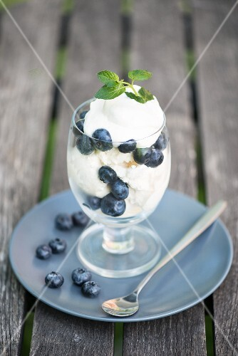 An ice cream with blueberries and mint leaves
