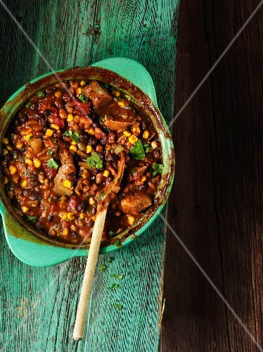 Bean stew with sweetcorn and beef