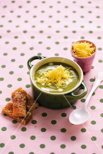 Green vegetable soup with leaf spinach, broccoli, Cheddar cheese and toast soldiers