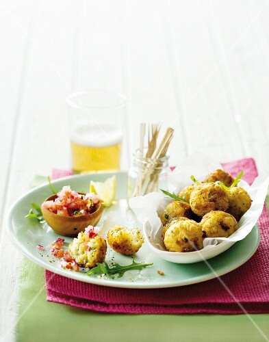 Using up leftovers: turkey & rice balls with tomato salsa