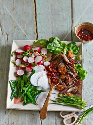 Mangetout & radish salad with duck meat and plum & chilli sauce