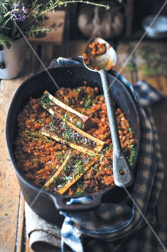 Lentil stew with bone marrow
