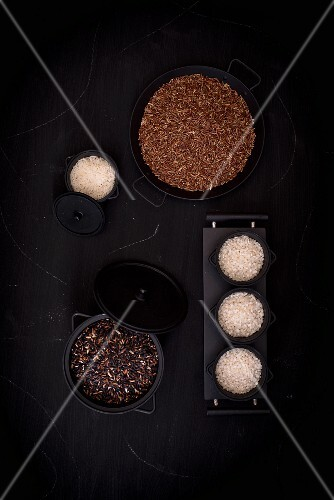 Various types of rice in containers (seen from above)