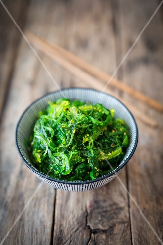 Wakame seaweed salad in a bowl