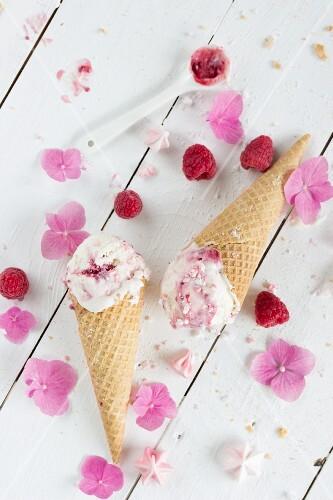 Frozen yoghurt with raspberries and meringue flowers