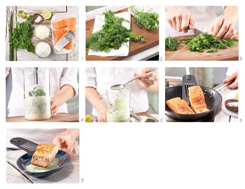 How to prepare pan-fried salmon with herb sauce