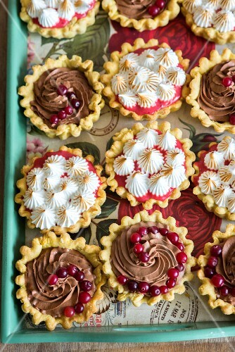 Mini tarts with chocolate cream, cranberries and toasted meringue