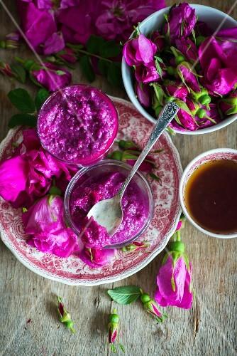 Jam made from fresh rose petals