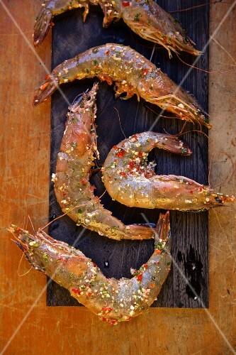 King prawns seasonen with piri piri