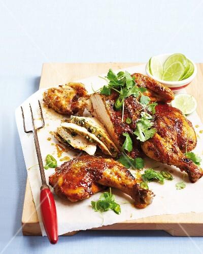 Chicken seasoned with piri piri and chilli butter