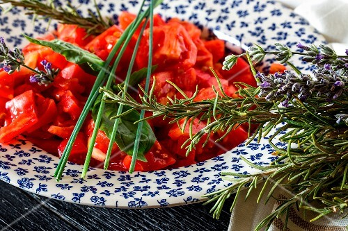 Tomato salad with basil and rosemary