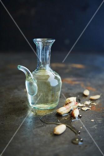 Peanut oil in a glass carafe