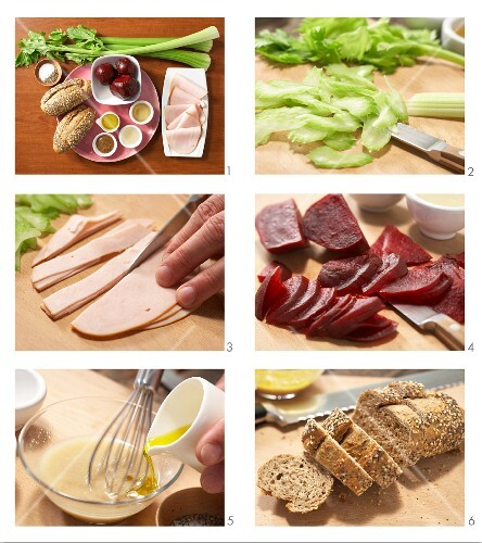 Beetroot salad with turkey breast and celery