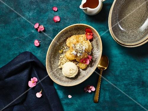 Profiteroles with ice cream and halva