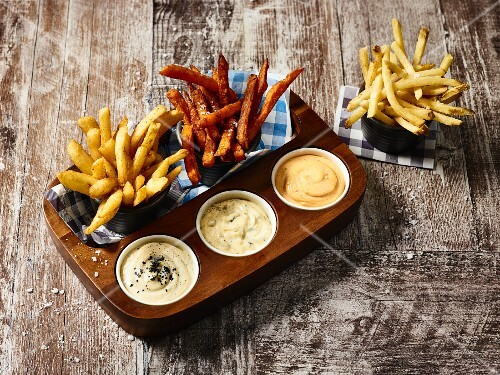 Assorted chips and dips