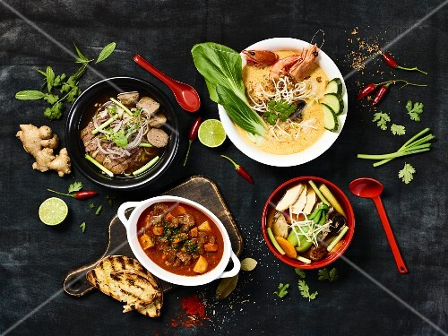 Four different winter soup (seen from above)