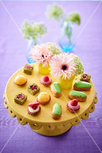A wedding buffet with pastries and petits fours