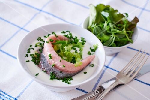 Smoked herring with chive yoghurt