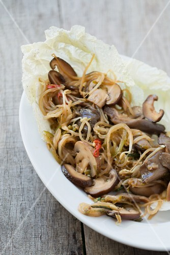 Oyster mushrooms with Thai basil and soya bean sprouts (Asia)