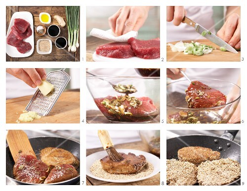How to prepare marinated tuna with a sesame seed crust