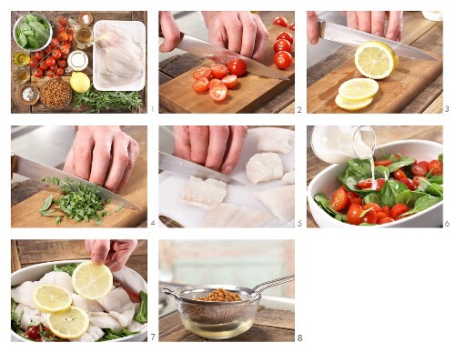 How to prepare oven-baked plaice fillets on a bed of tarragon spinach