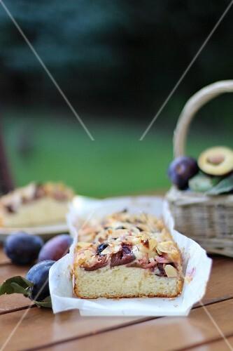 Sliced plum cake on a garden table