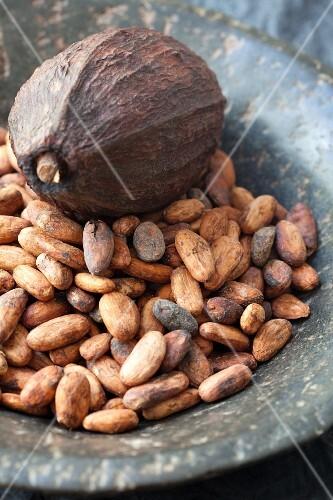 Cocoa beans and a cocoa pod