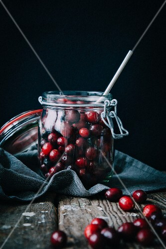 Lingonberries in a preserving jar
