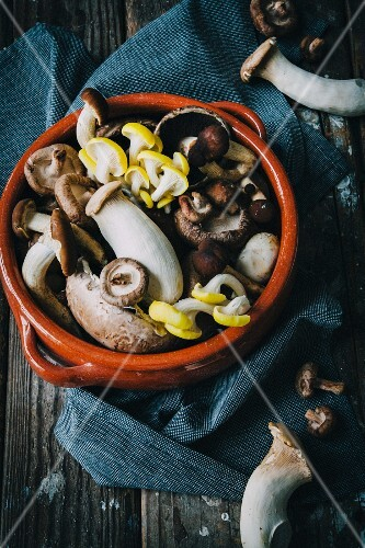 Assorted mushrooms in a clay bowl on a wooden surface