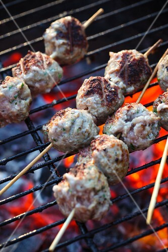 Meatballs on a grill rack