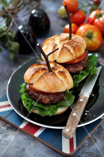 Home-made hamburgers with tomato and salad