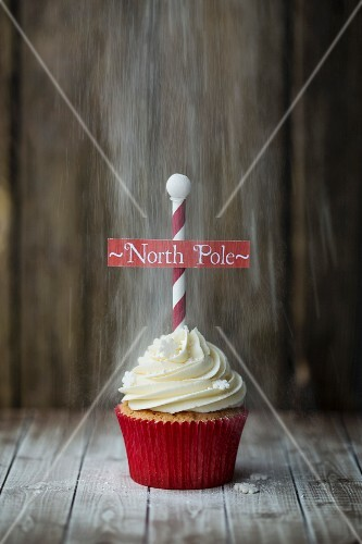 Christmas North Pole cupcake with a dusting of powdered sugar