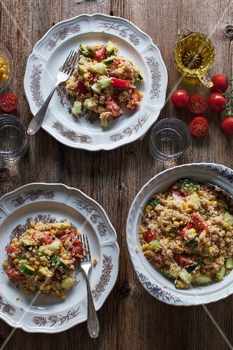 Vegetarian couscous with tomatoes, zucchini, corn and cucumbers served for lunch