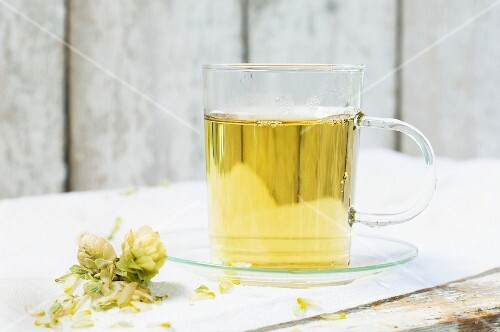 Hot tea in a glass cup next to dried hops on a wooden table