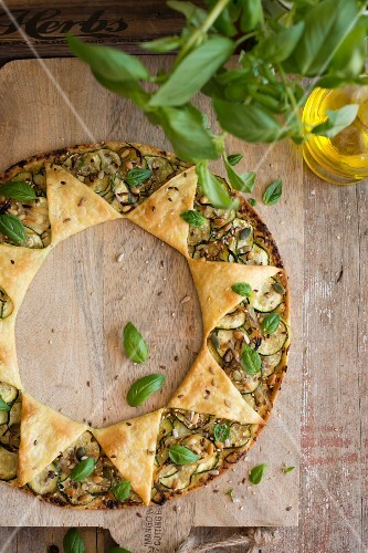 Courgette tart with pastry stars
