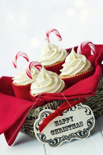 Gift basket of Christmas cupcakes