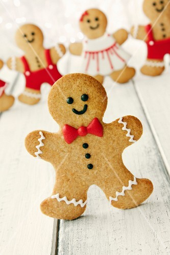 Gingerbread man with bow tie and buttons